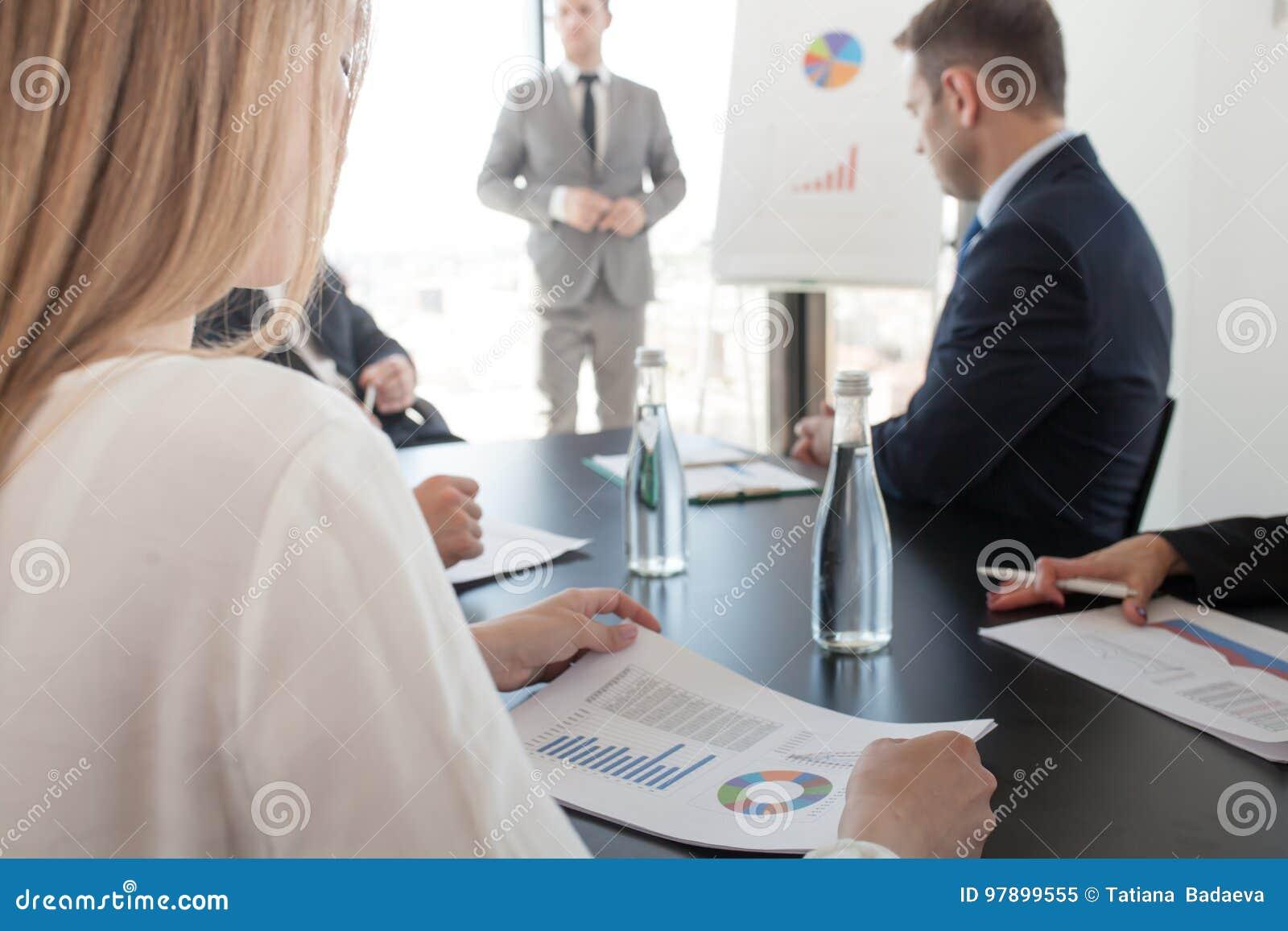 Presentation Of Diagrams At Flip Chart Stock Image