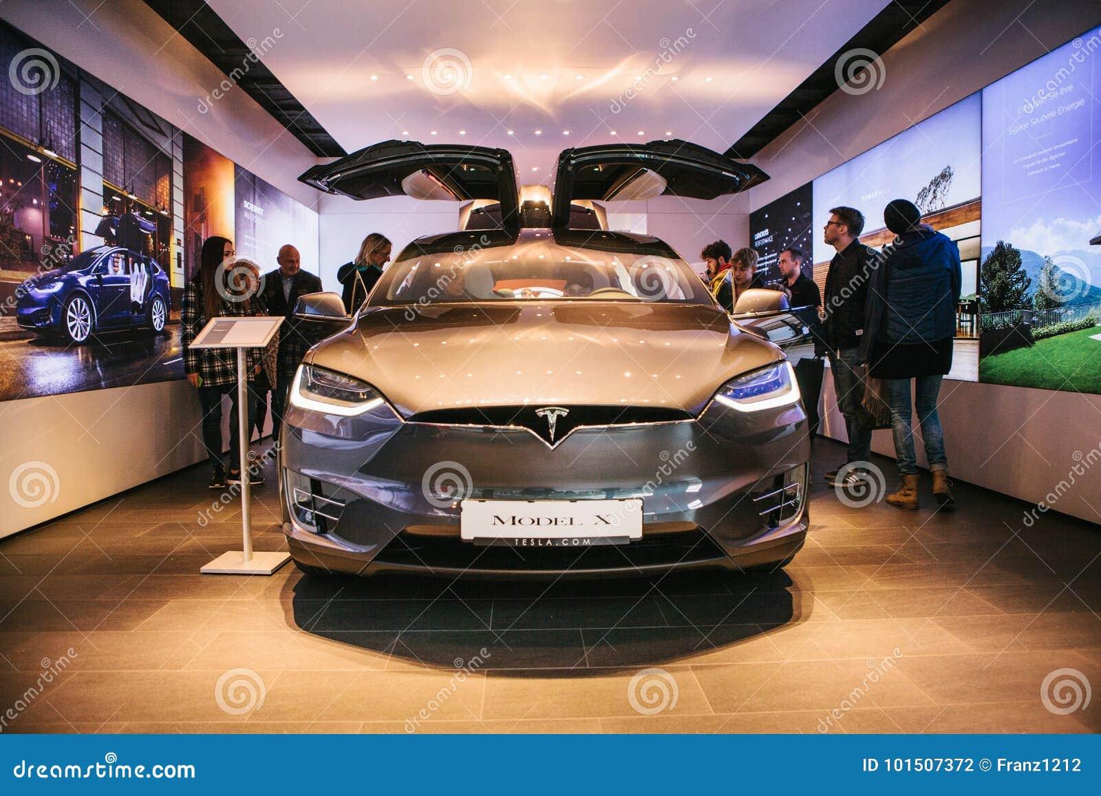 Berlin, October 2, 2017: Presentation of an electric vehicle Tesla model X at the Tesla motor show in Berlin.