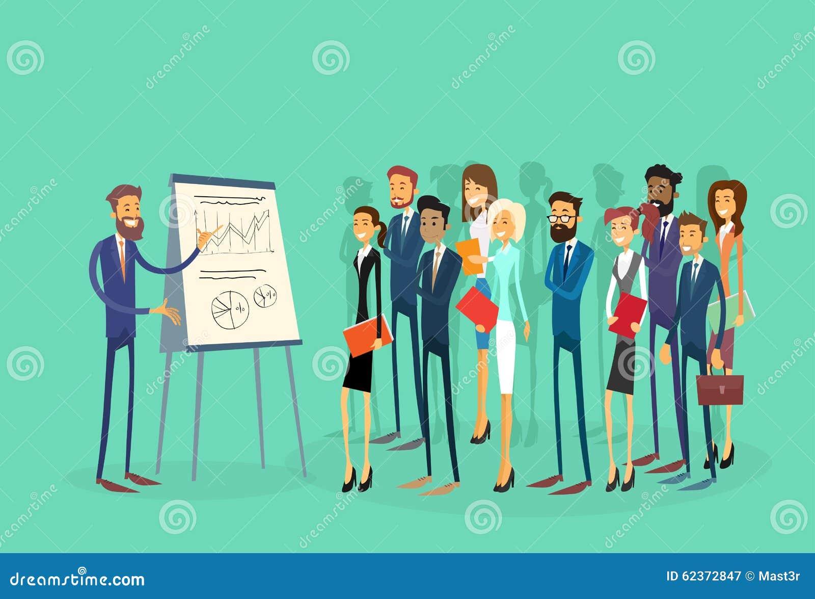 Presentation Flip Chart för grupp för affärsfolk