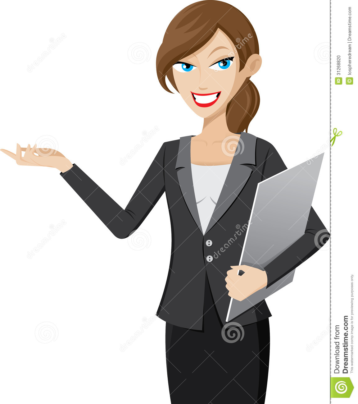 presentation girl is holding a clipboard stock photo