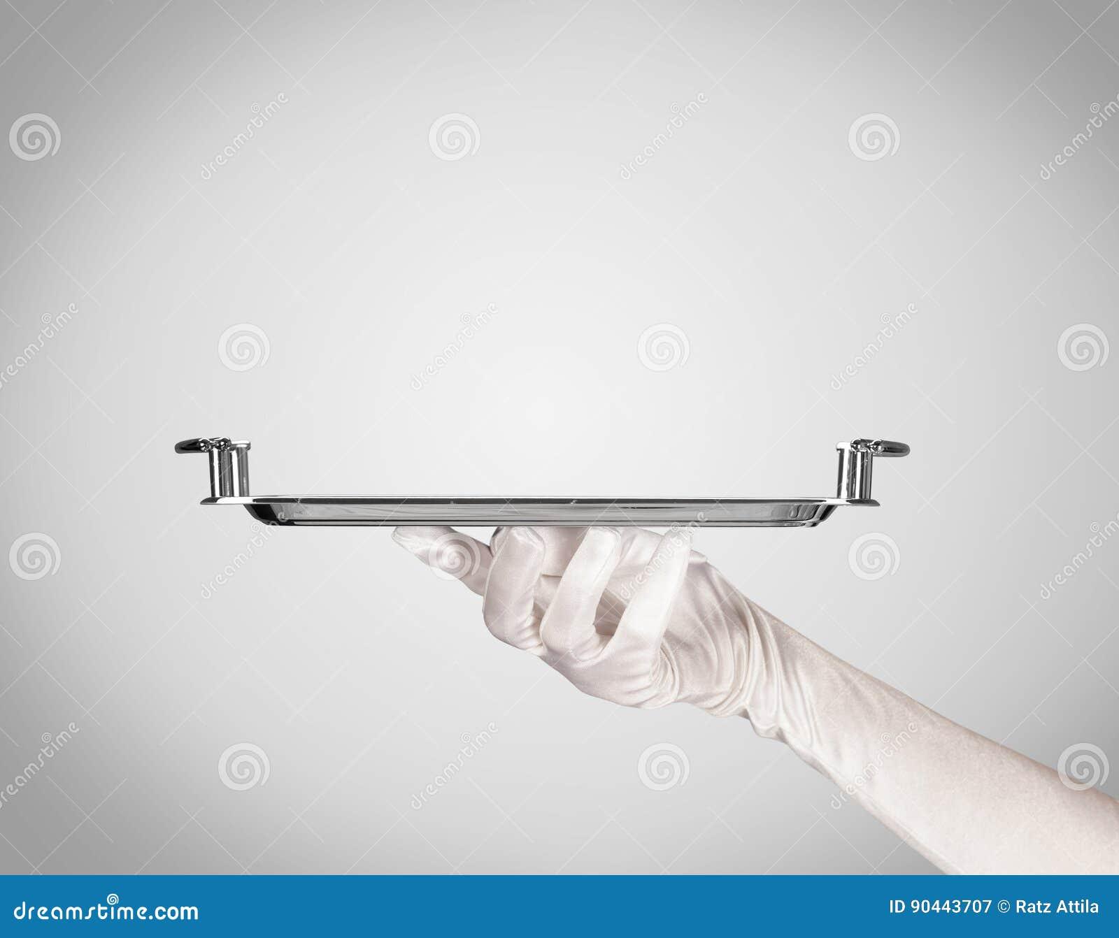 Presentation på plattan vid den stilfulla handen