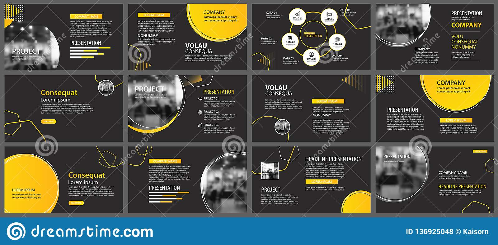 presentation and slide layout background  design yellow and black circle template  use for