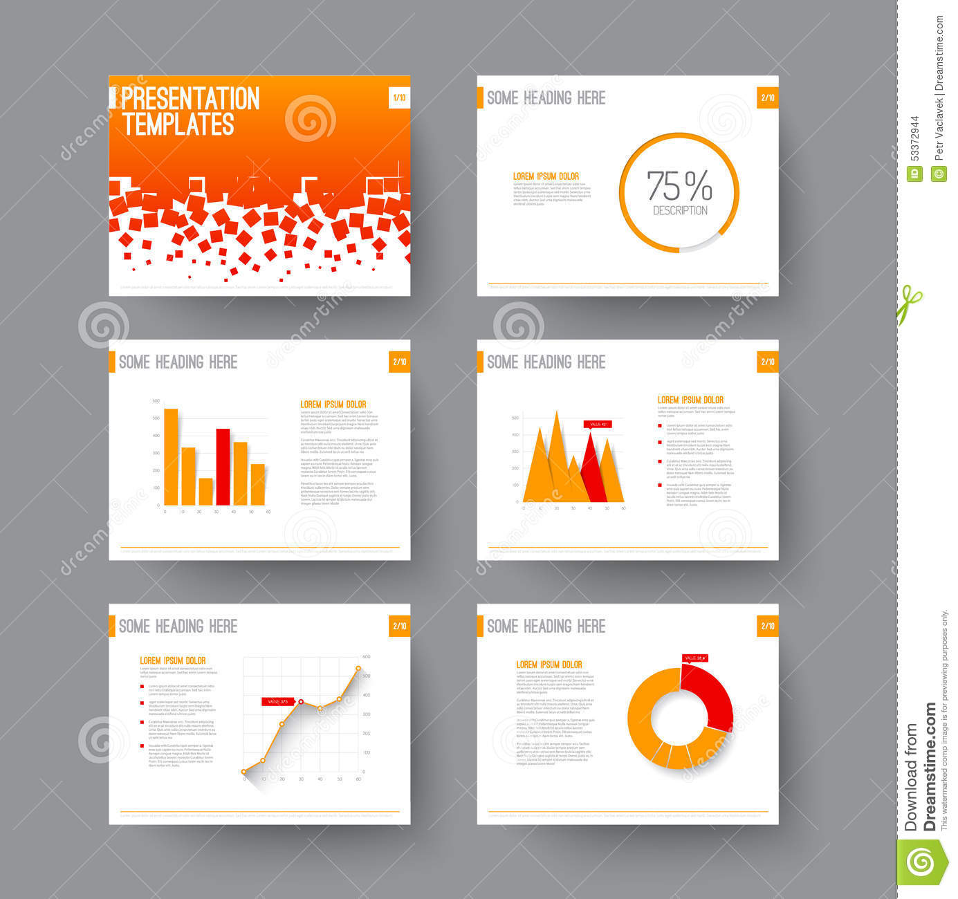 presentation slides with infographic elements stock vector