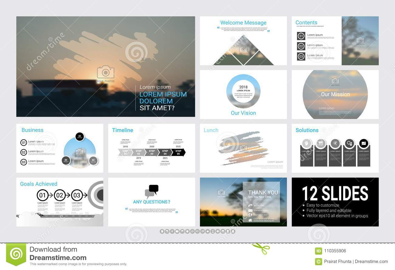 presentation template with infographic elements stock vector