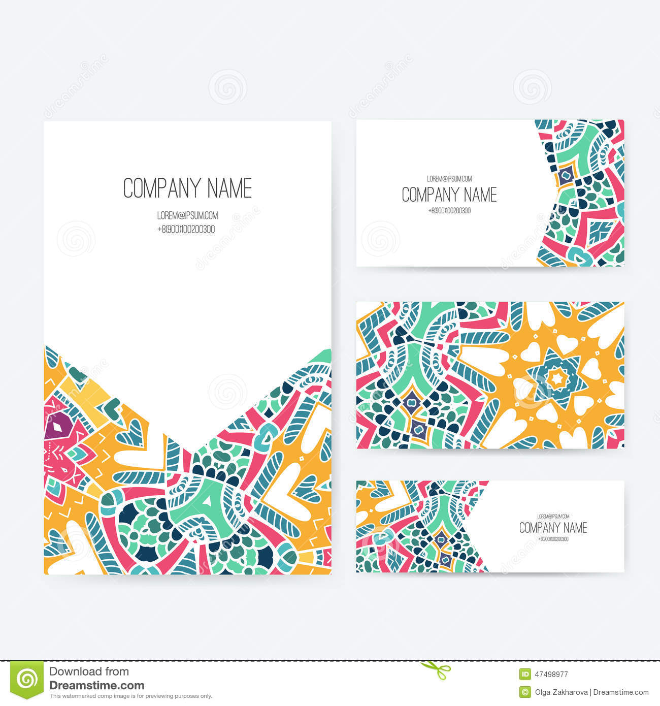 Set of business card and invitation card templates with lace ornament ...