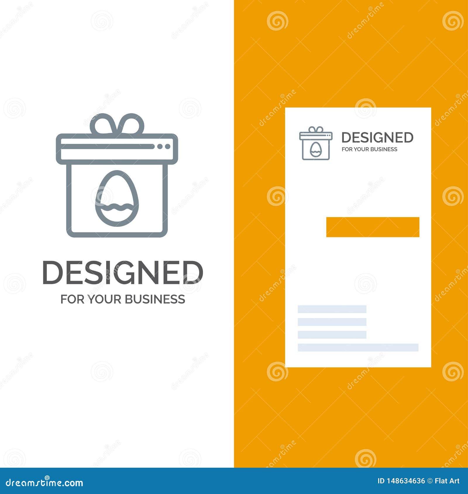 Presente, caixa, ovo, Páscoa Grey Logo Design e molde do cartão