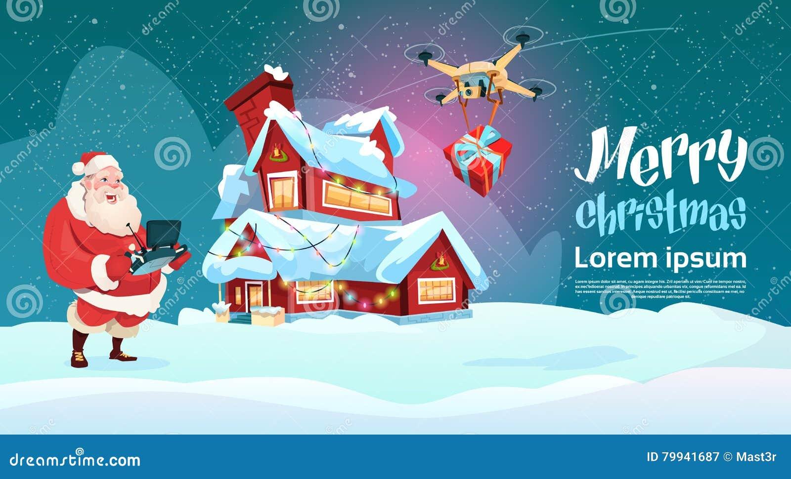 Presente da entrega de Santa Claus Hold Remove Controller Drone, feriado do Natal do ano novo