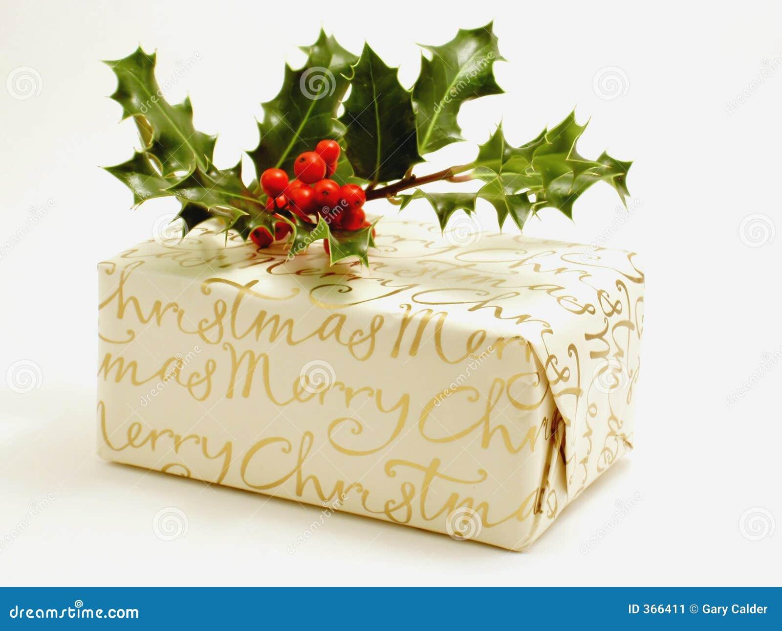 Presente de Natal com azevinho