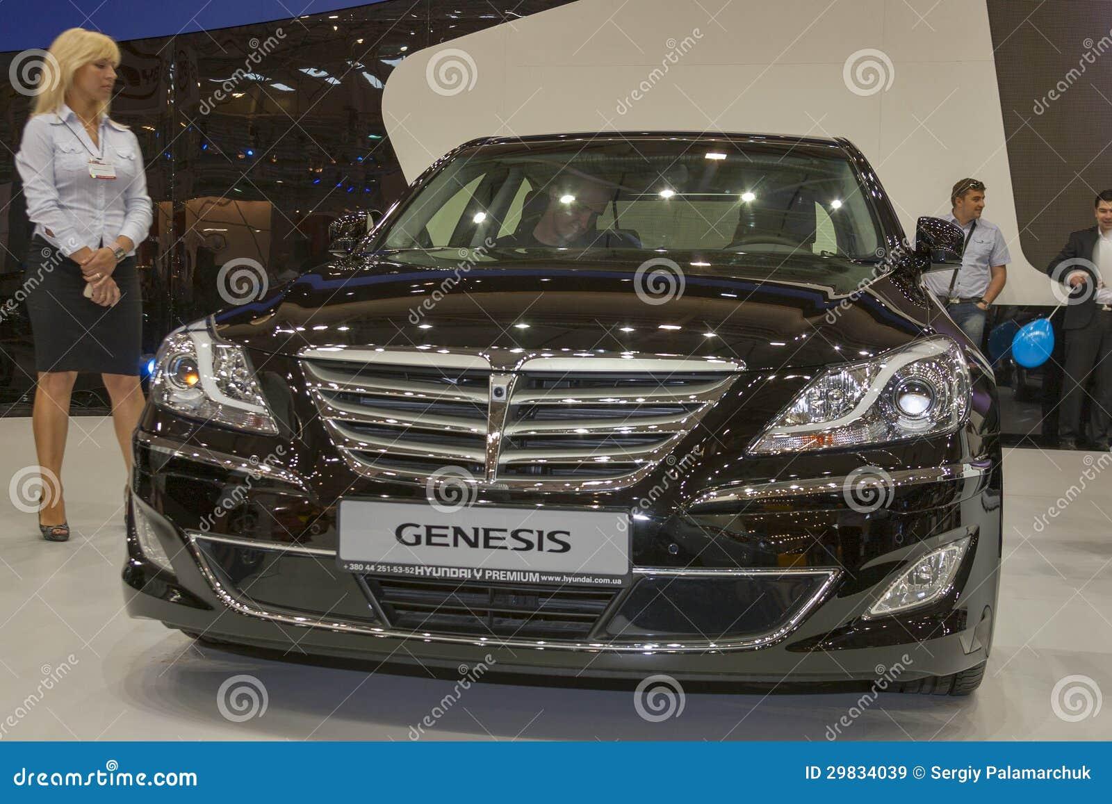 hyundai genesis car model on display editorial stock image image 29834039. Black Bedroom Furniture Sets. Home Design Ideas