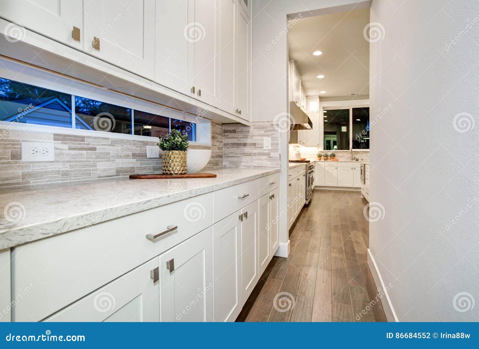 Presenterar den våta stången för vitt kök vita moderna kabinetter