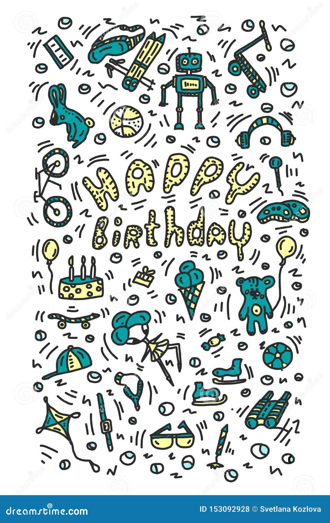 Presentes de cumplea?os Elementos pintados y letras brillantes positivas Las bolas de la caja de regalo de los prismáticos de la