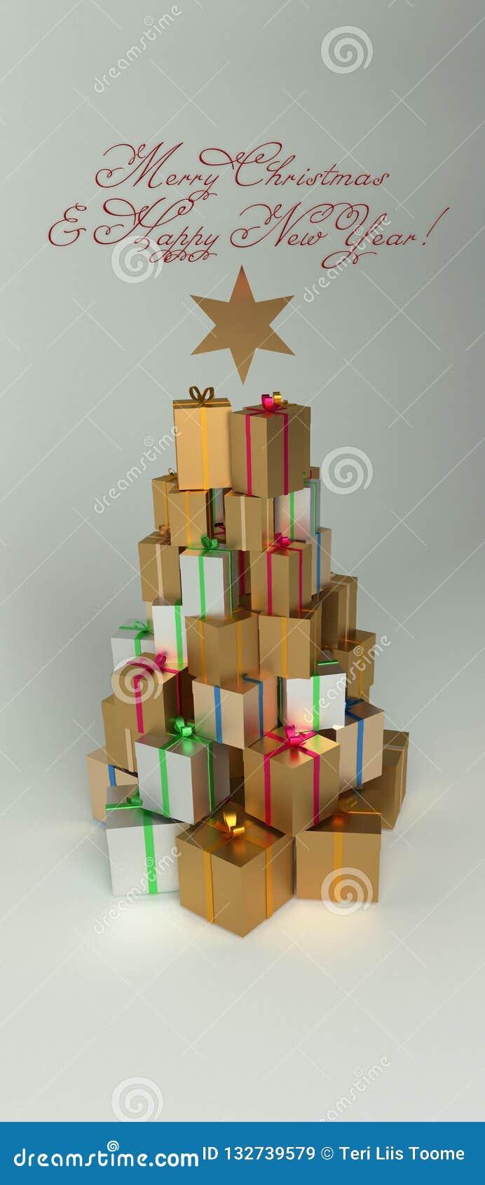 Presentes de la Navidad y del Año Nuevo en la pila con la forma del árbol de navidad Con el texto de saludo rojo y una estrella