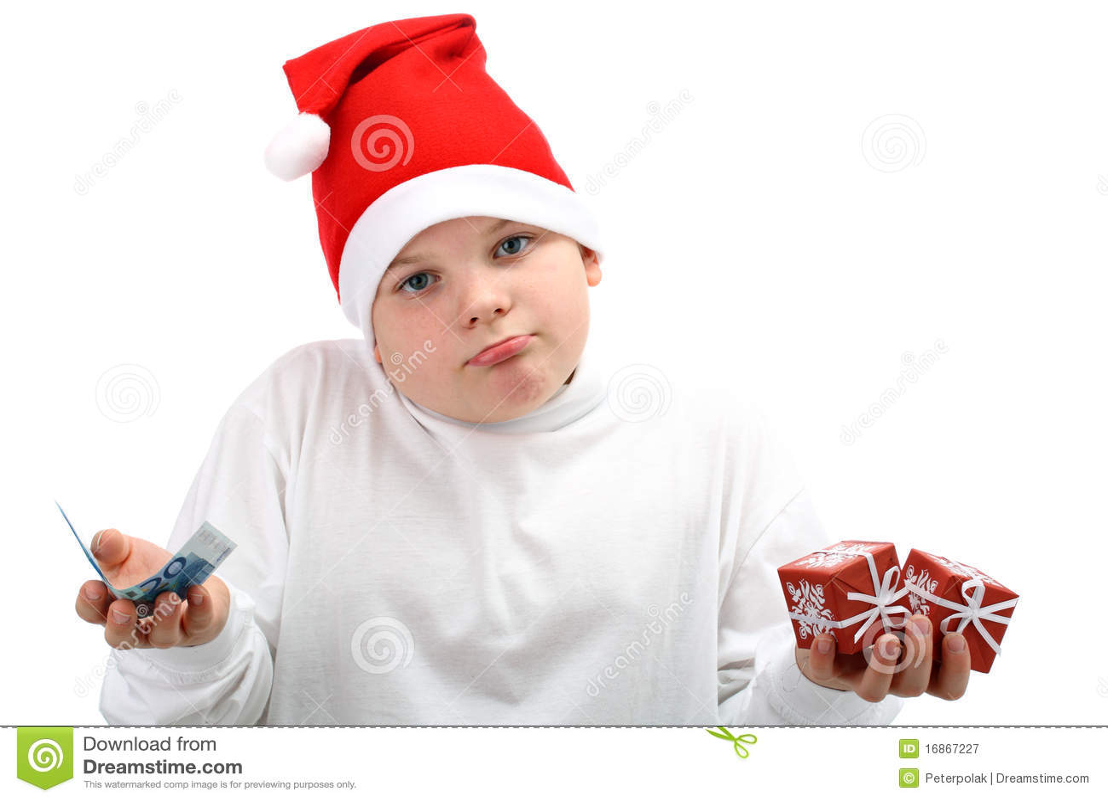 Presentes de Natal da terra arrendada do menino e euro- dinheiro