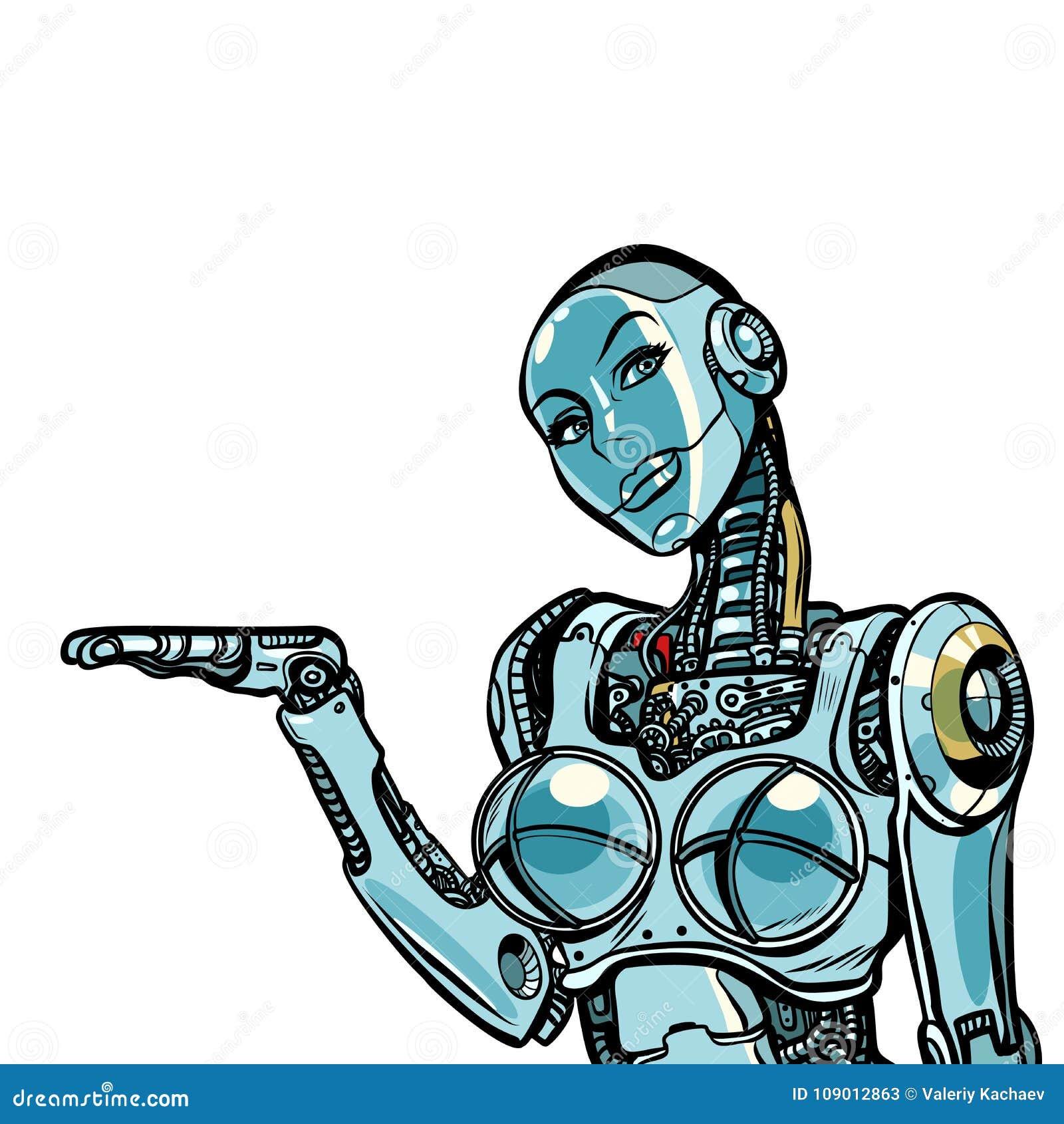 Presentes hermosos del robot de la mujer Aislado en el fondo blanco