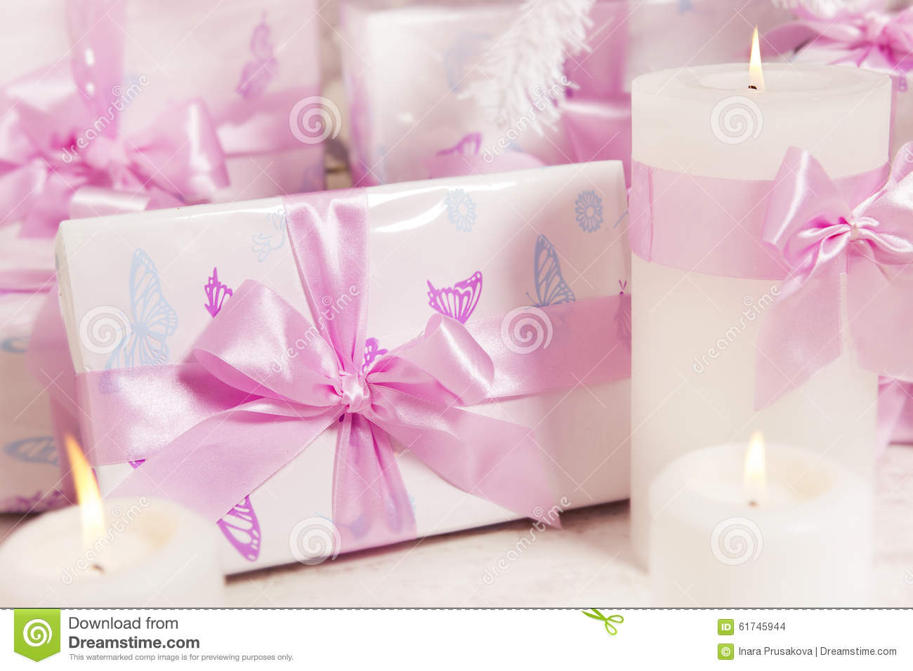Presents Gift Boxes, Silk Ribbon Bow White Pink Color, Woman