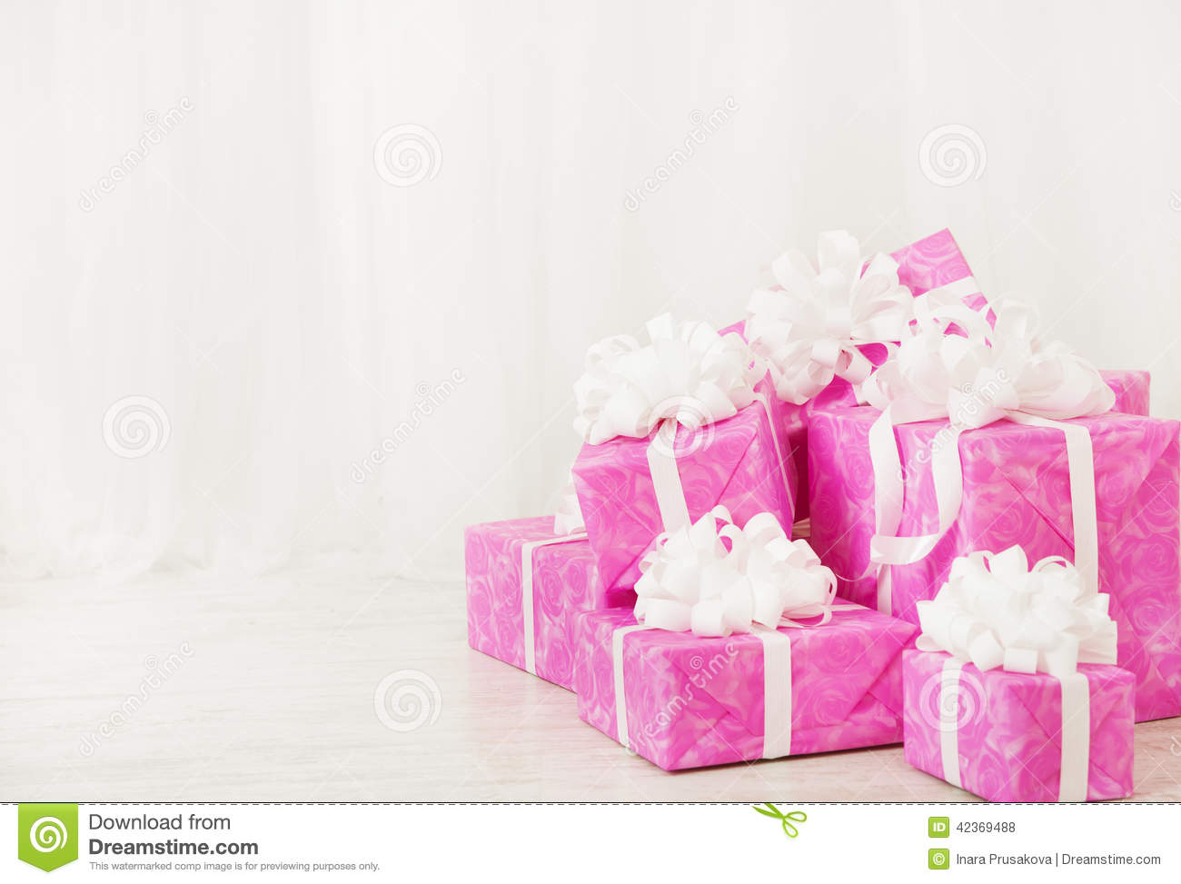 Presents Gift Boxes Stack Birthday In Pink Color For Female Or