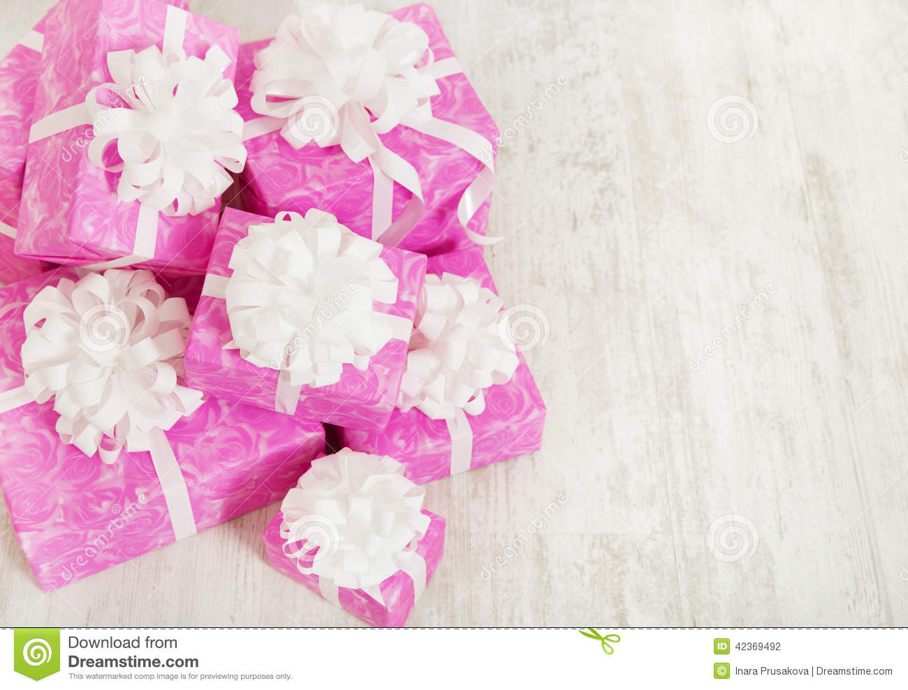 presents gift boxes stack birthday in pink color for female stock