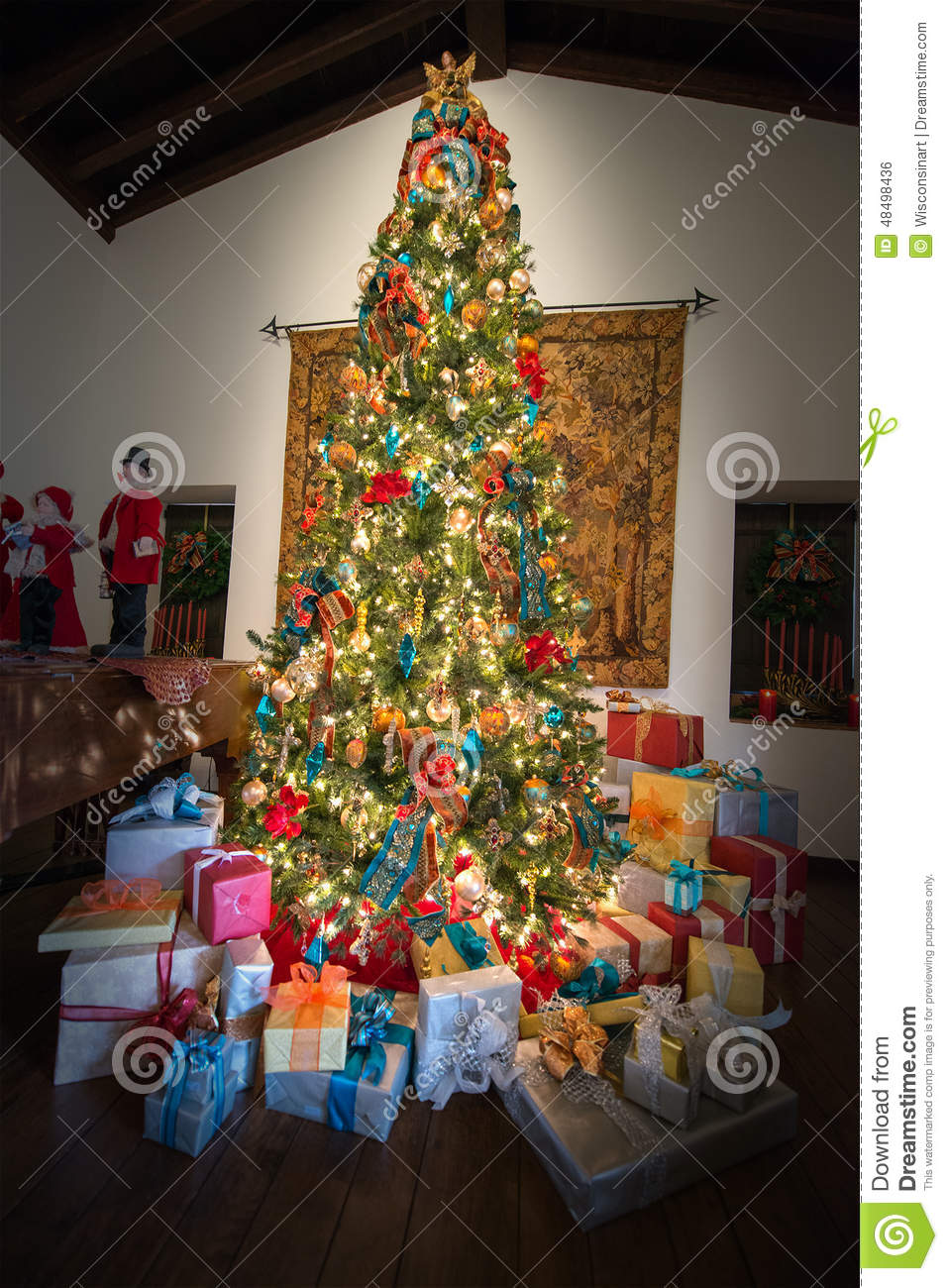 Presents holiday christmas tree colors stock photo