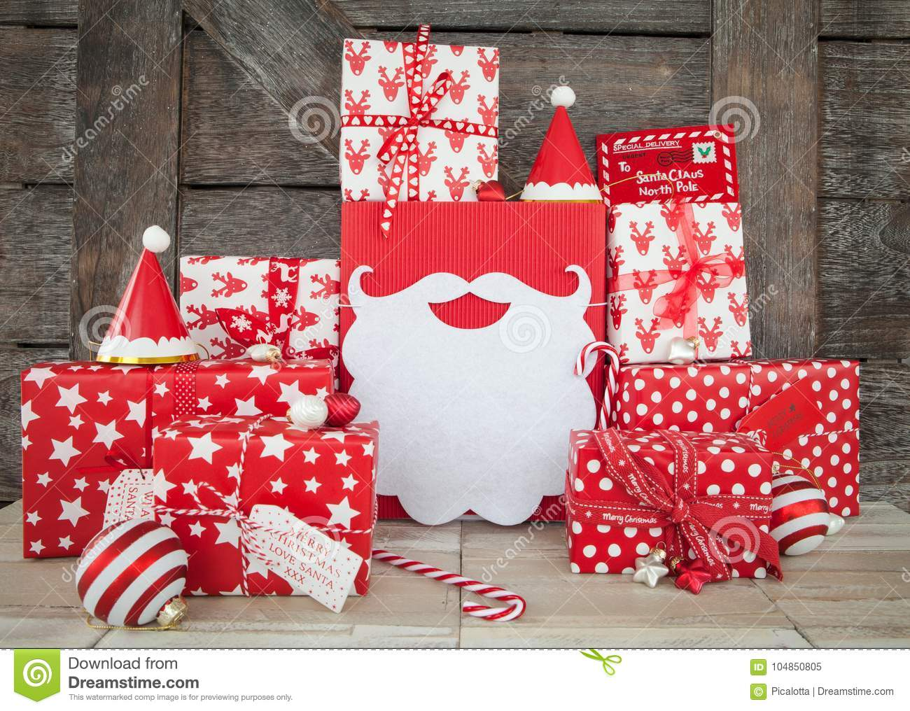 Presents In Red And White Wrapping Paper Stock Image - Image of