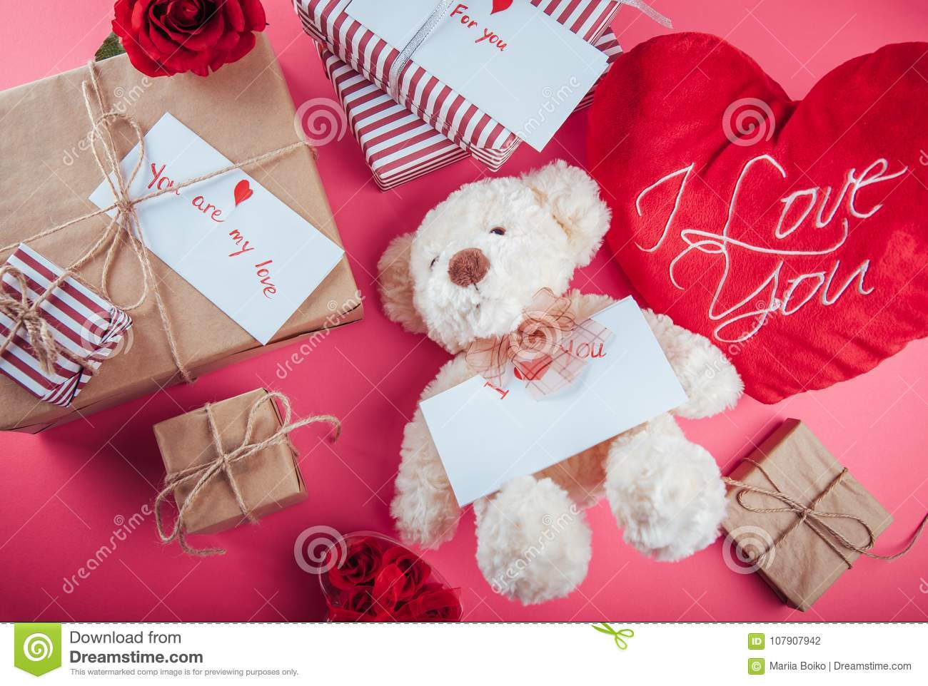 Presents For Valentines Day On Pink Background Stock Photo - Image ...