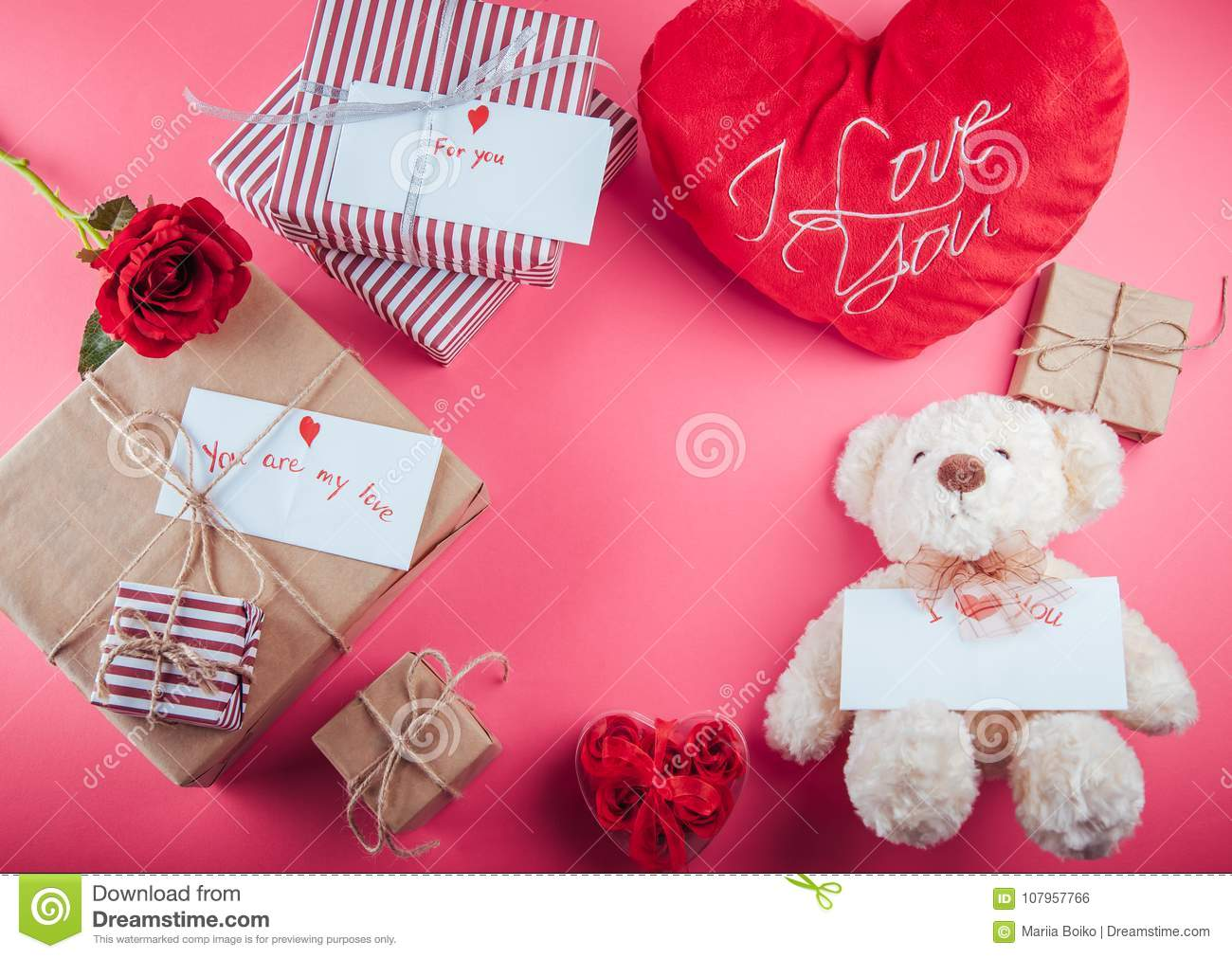 Presents For Valentines Day On Pink Background Stock Photo Image