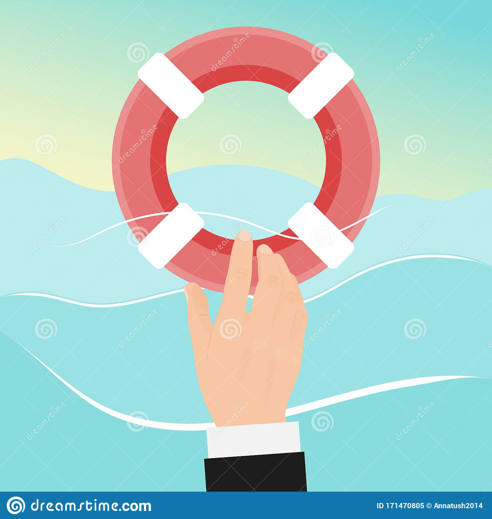 Preserver Rescue Businessman With Lifebuoy. Drowning Man ...