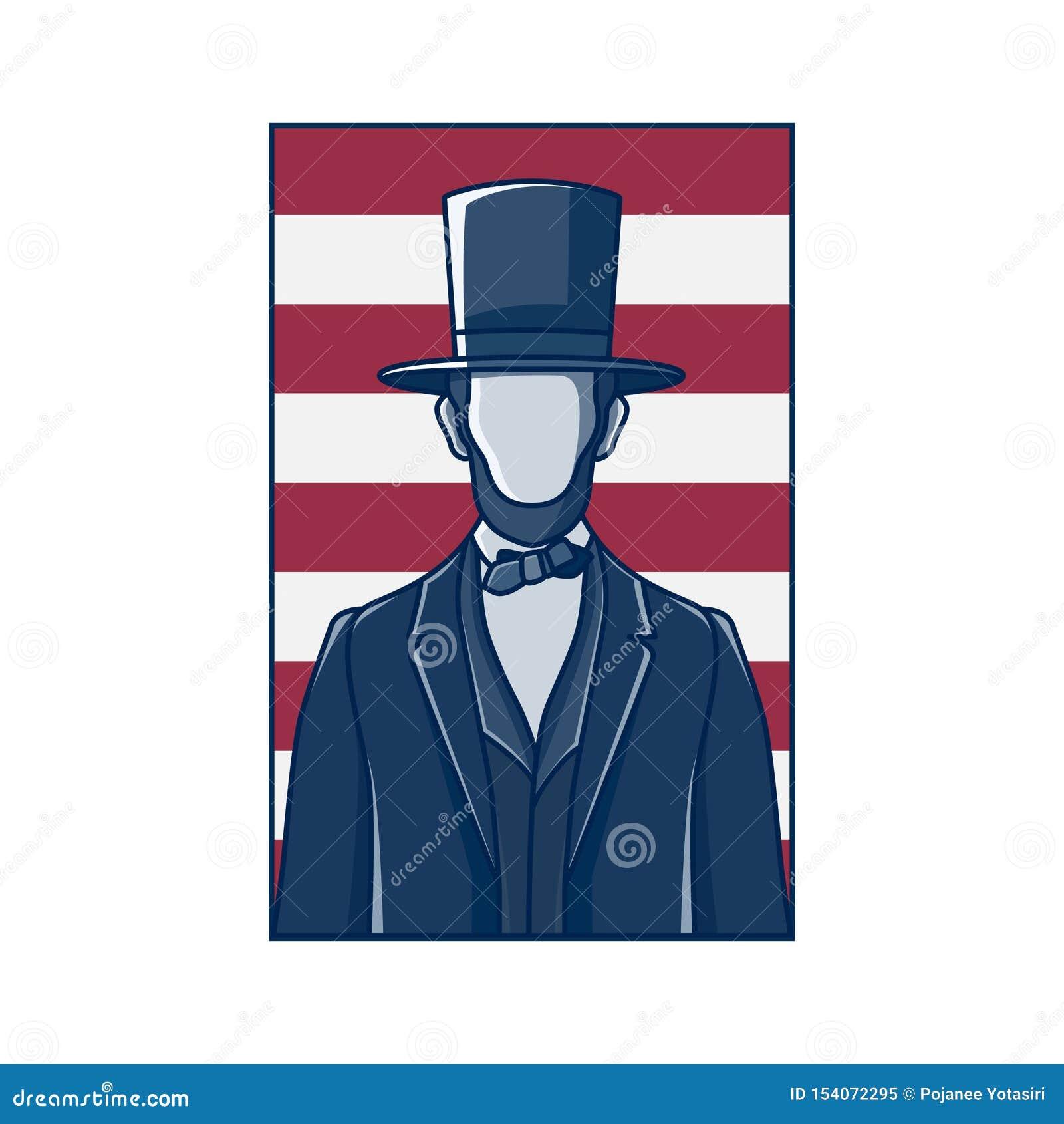 President Abraham Lincoln, retro design.