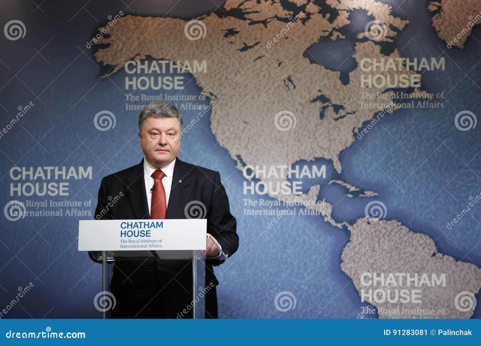 President av Ukraina Petro Poroshenko i det Chatham huset, UK