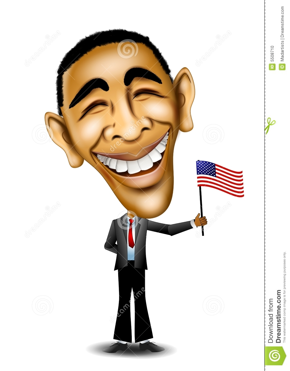 An illustration caricature of President Barack Obama standing and ...
