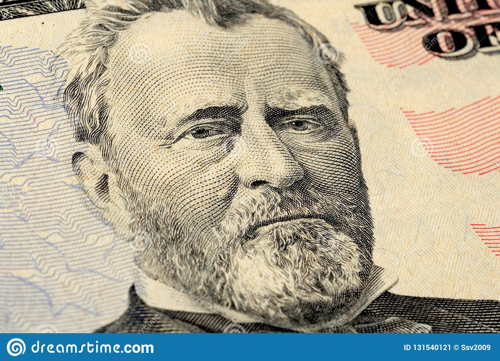 President Grant portrait on fifty 50 american dollar bill. Macro close up view