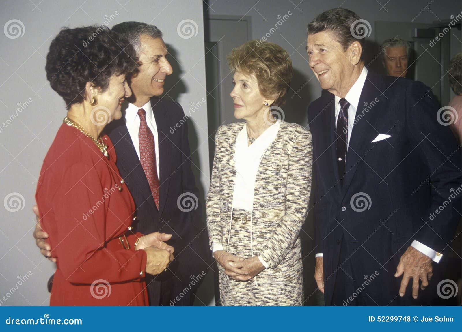 President Ronald Reagan, Mrs. Reagan, California governor George Deukmejian and wife