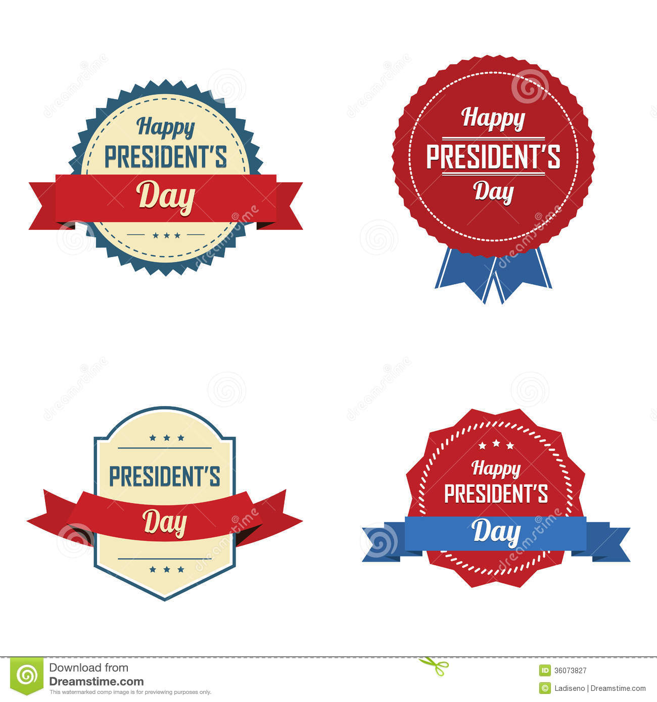 Extended Presidents Day: President's Day Labels Stock Vector. Illustration Of Third