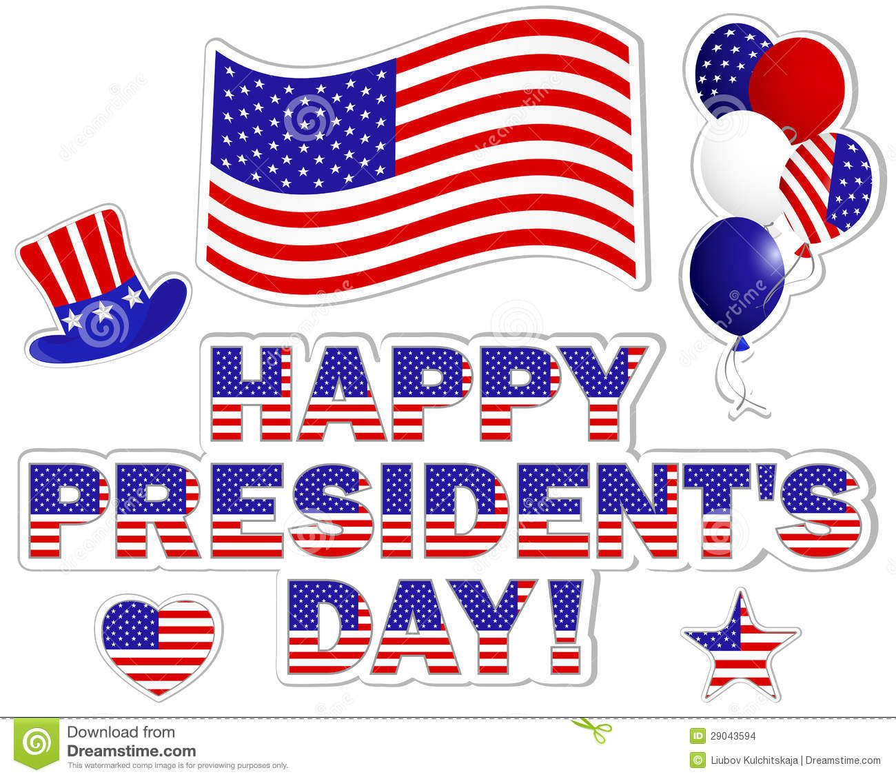 Extended Presidents Day: Presidents Day Stickers. Stock Images