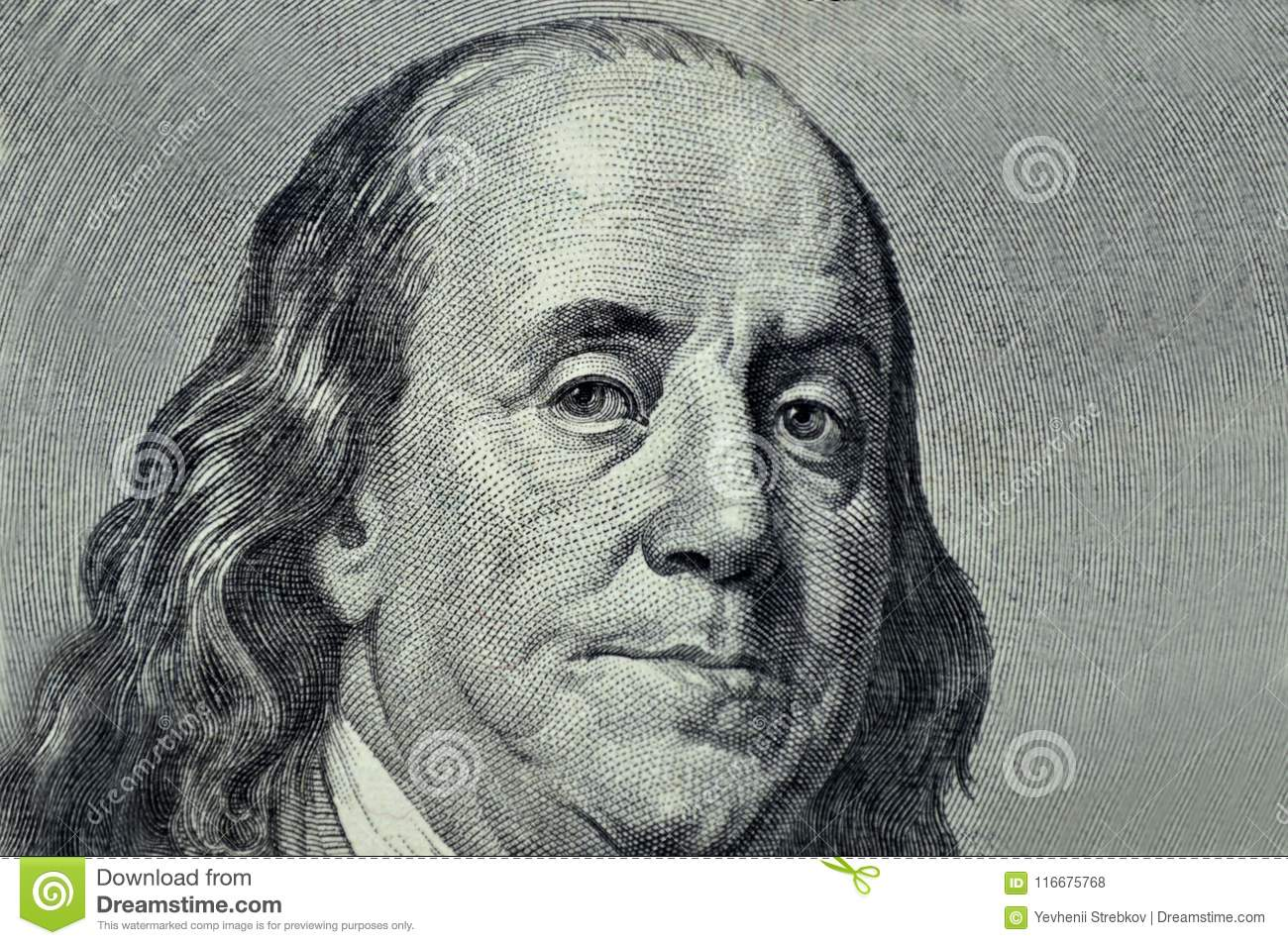 Benjamin Franklin close-up on a gray background