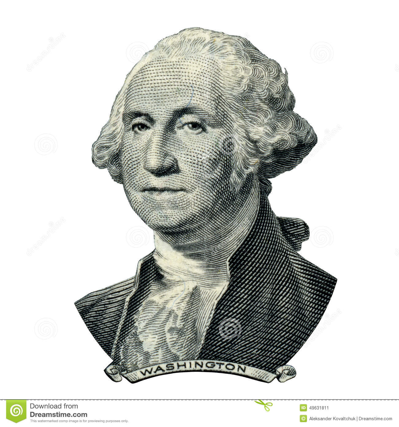 Portrait of first USA president George Washington as he looks on one ...