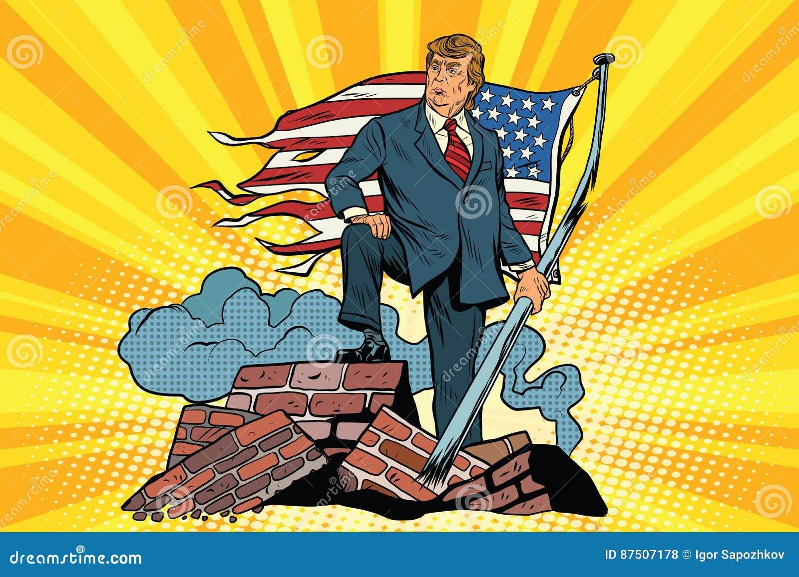 Presidente Donald Trump com bandeira dos EUA, nas ruínas