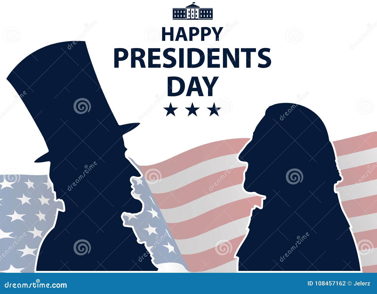 Presidentes felizes Dia no fundo dos EUA Silhuetas de George Washington e de Abraham Lincoln com a bandeira como o fundo