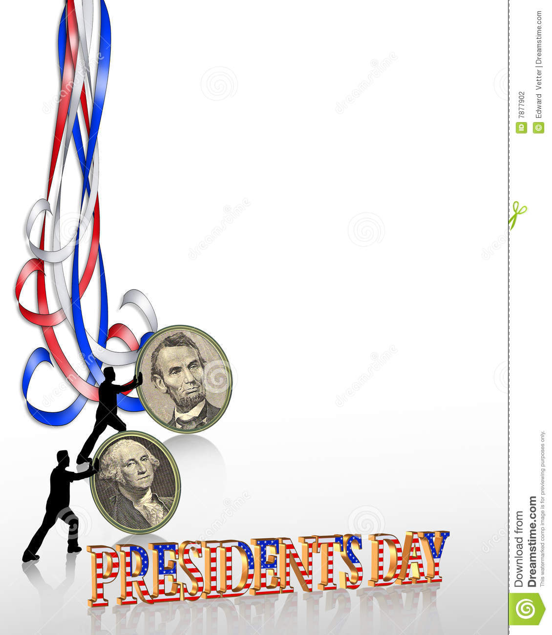 Illustration composition for Presidents Day border or background with ...