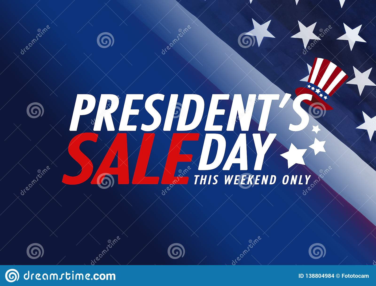 59e19c44862 Presidents` Day Sale Banner With American Flag And Stars Background ...