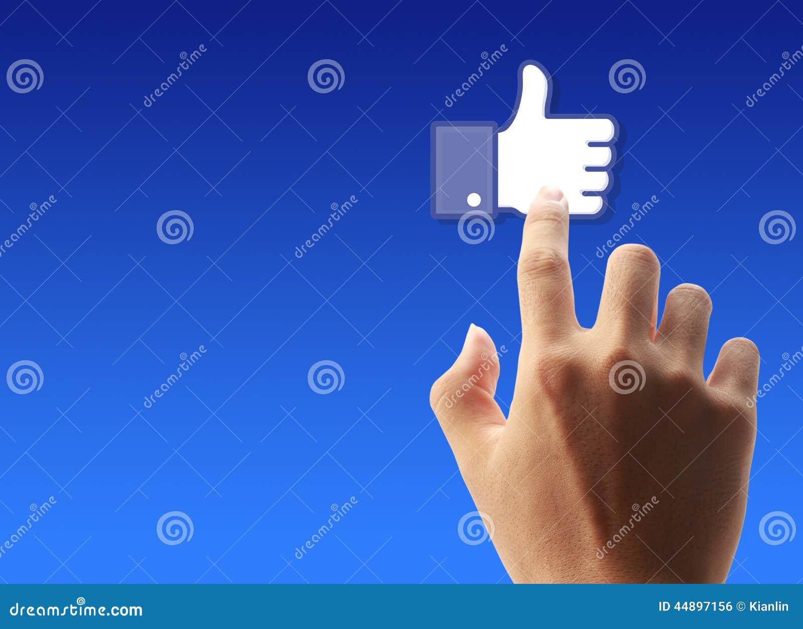 Presione Facebook como el botón