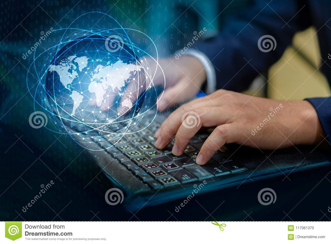 Press enter button on the computer. business logistics Communication network World map send message Connect worldwide hand keyboar