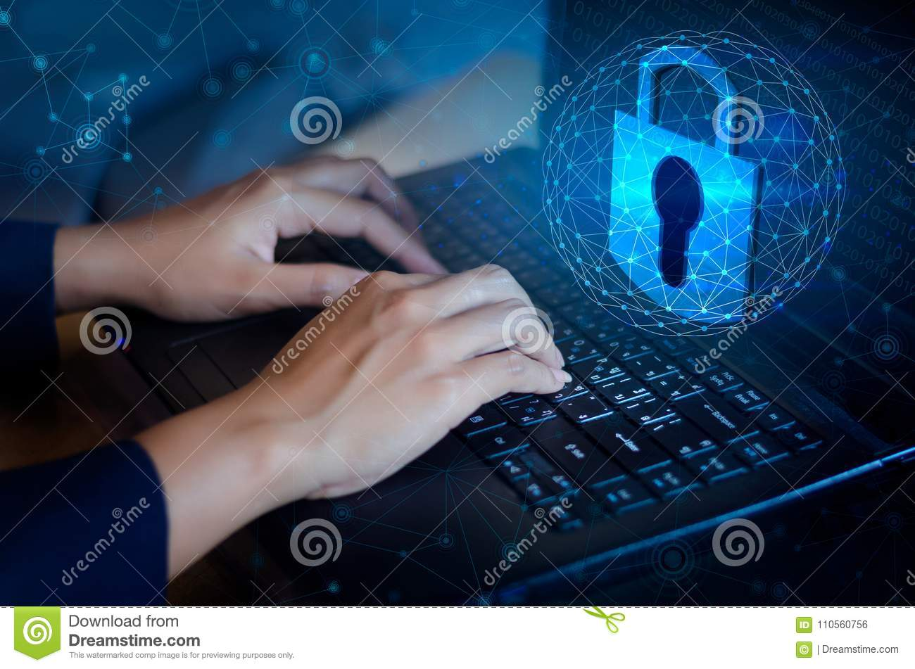 Press enter button on computer. Key lock security system abstract technology world digital link cyber security on hi tech Dark