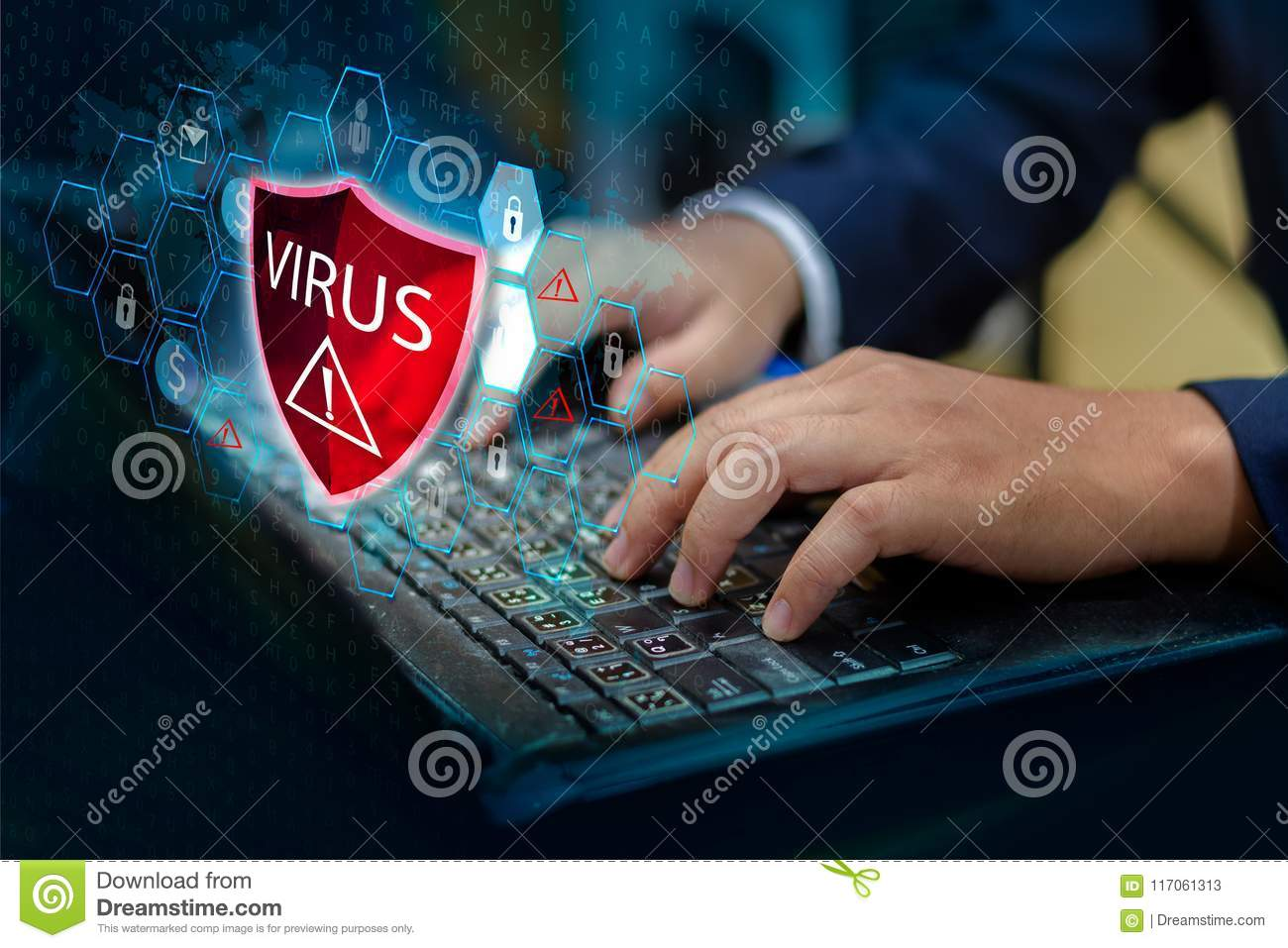 Press enter button on the keyboard computer Protective shield virus red Exclamation Warning Caution Computer in dark with word vir