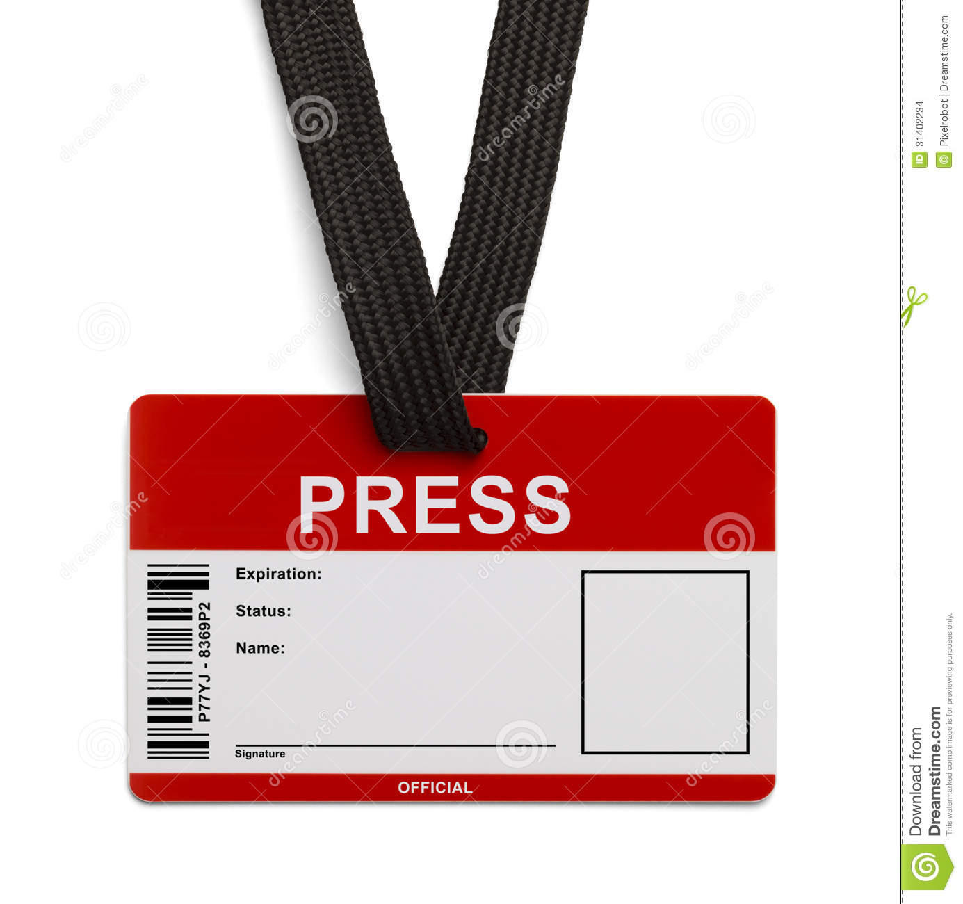 Press Id Card Stock Images Image 31402234
