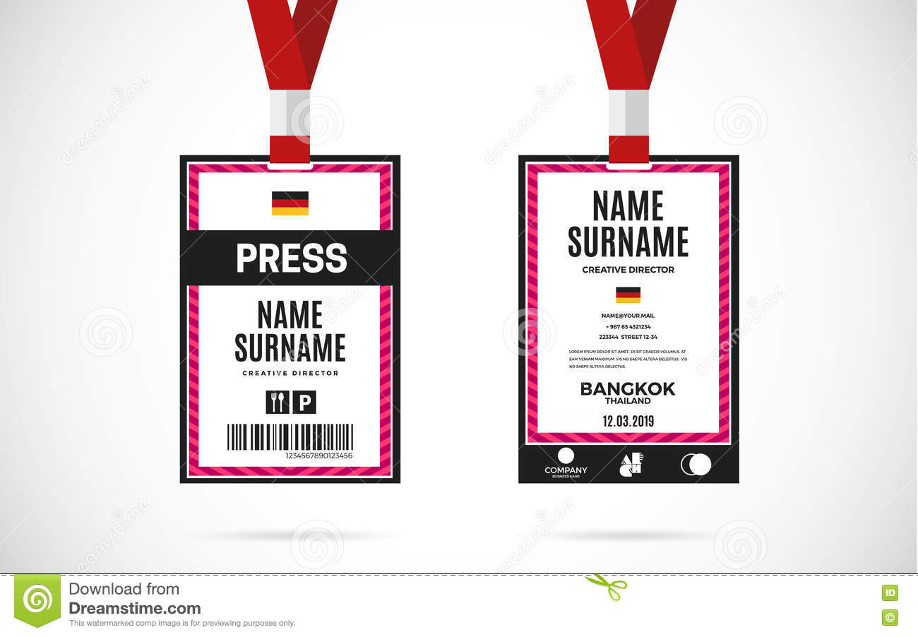 Press Id Card Set Vector Design Illustration Stock Vector - Event badge template
