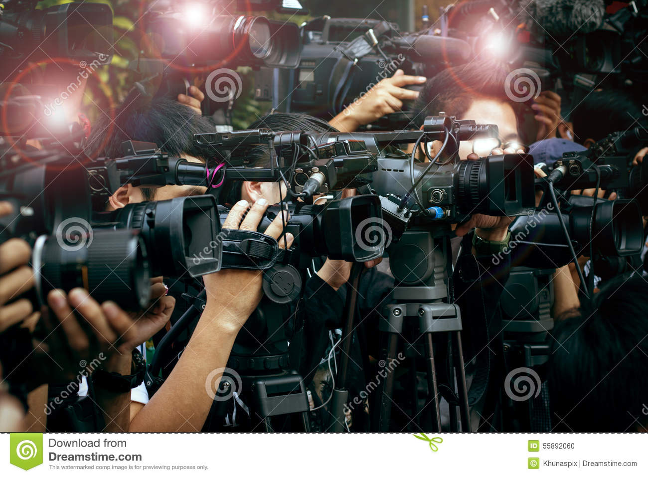 Press And Media Camera ,Video Photographer On Duty In Public New Stock Photo - Image -1766