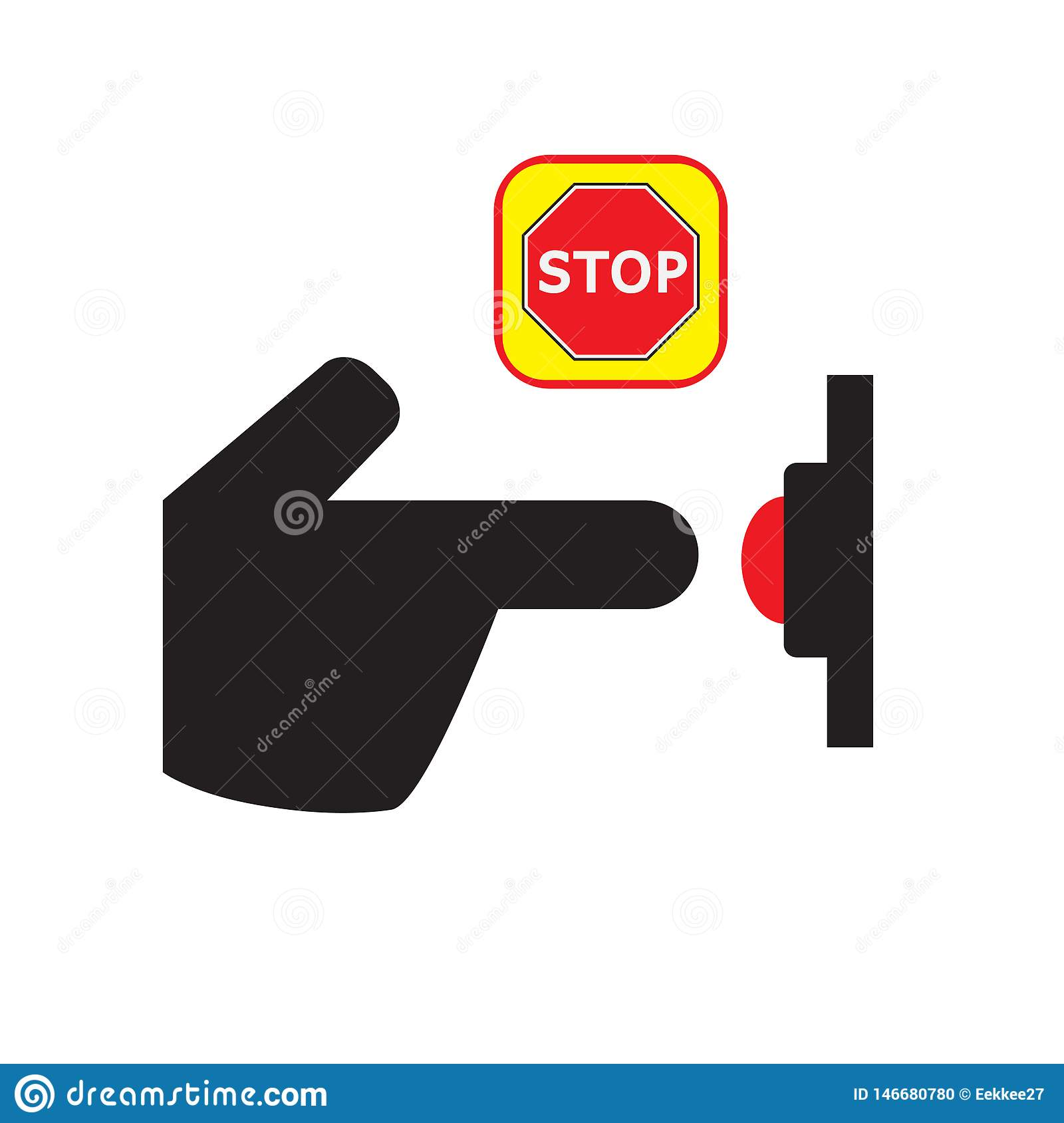 Press stop button icon. hand icon. one click stop