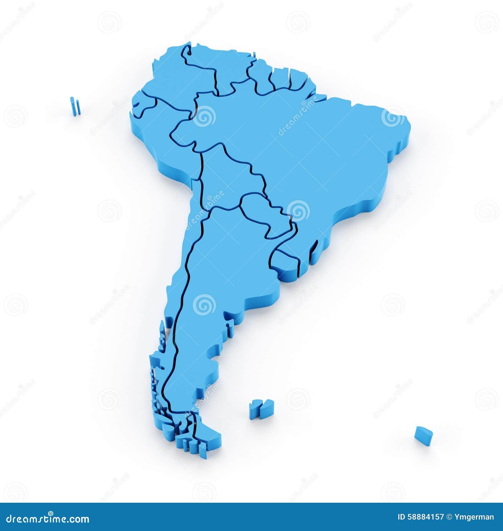 Pressad ut översikt av Sydamerika med medborgaren