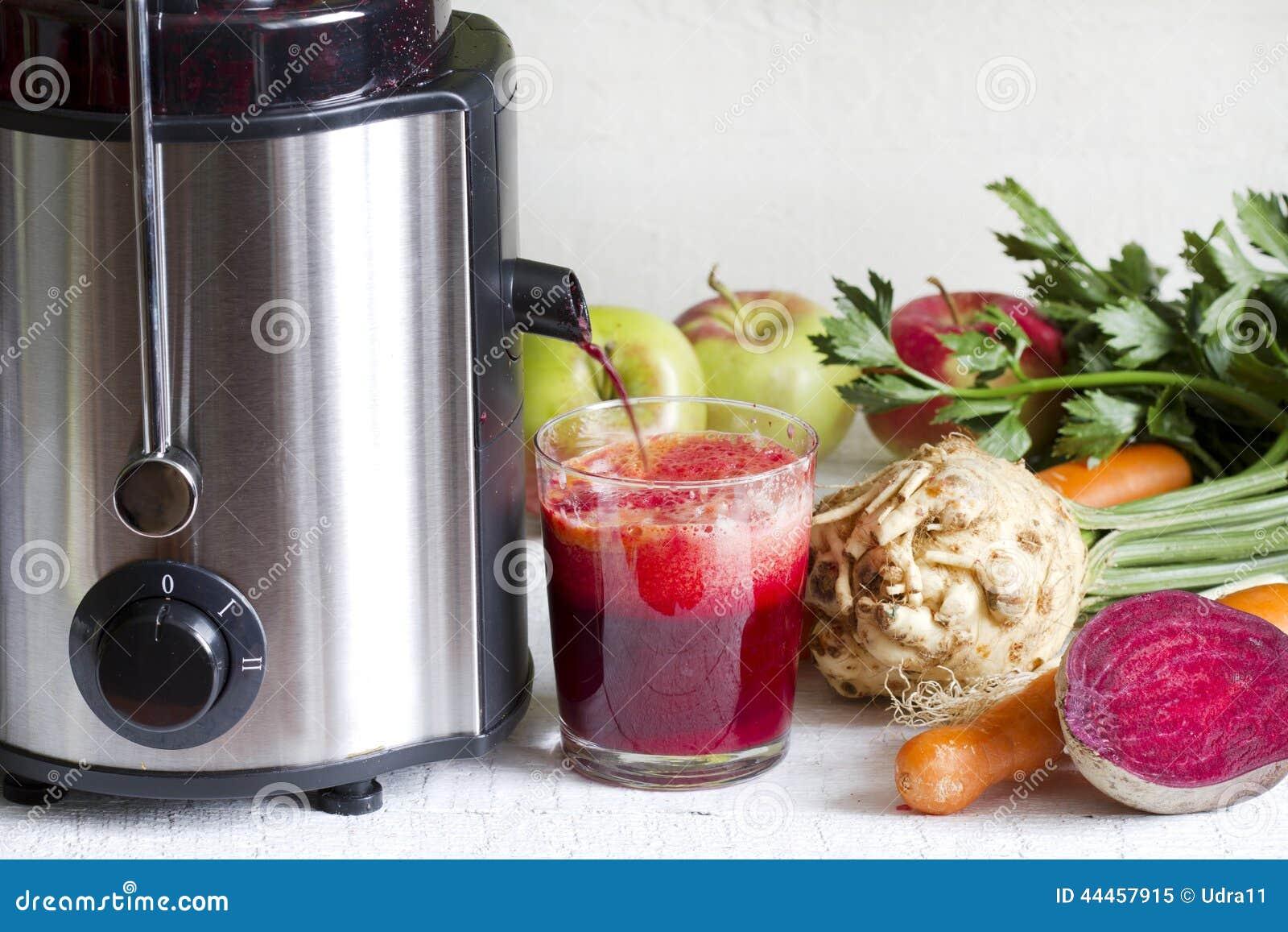 presse fruits et jus avec des fruits frais et des l gumes photo stock image 44457915. Black Bedroom Furniture Sets. Home Design Ideas