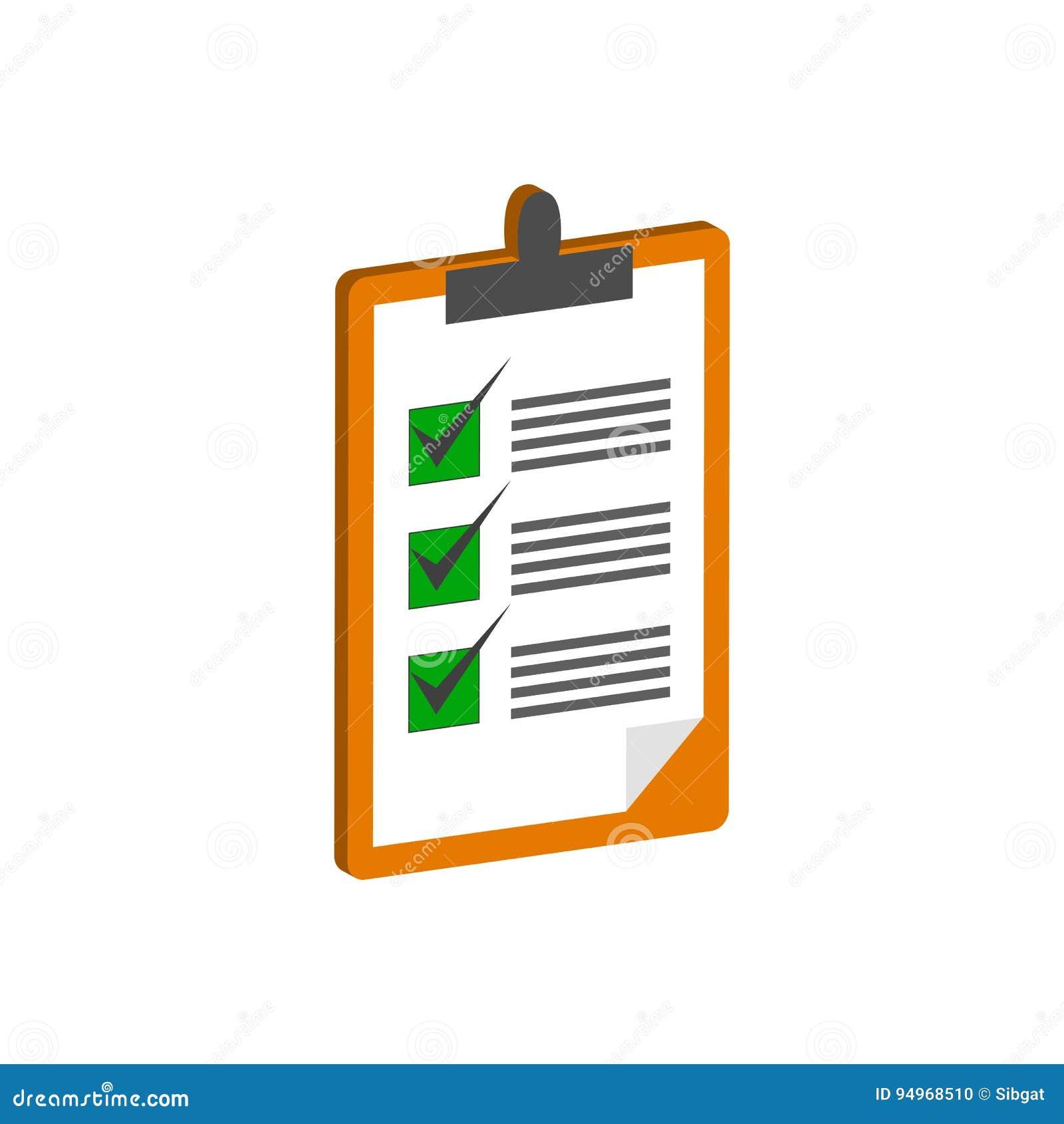 Presse-papiers avec le symbole de liste de contrôle Icône ou logo isométrique plate